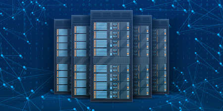 Creative illustration of server rack room, big data bank center isolated on background. Art design web hosting technology. Abstract concept graphic computer service element.