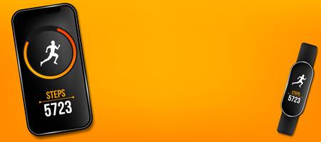 Ilustración creativa de la aplicación de ejecución de contador de fitness en el teléfono y la pulsera, rastreador de actividad aislado en el fondo. Plantilla de teléfono inteligente de diseño de arte. Elemento gráfico del concepto abstracto.