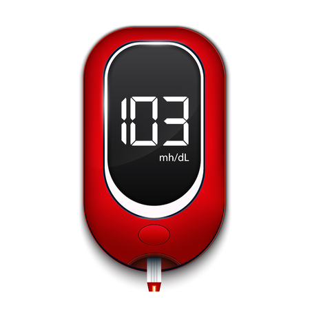Creative illustration of blood glucose meter level test, diabetes glucometer isolated on background. Art design medical device template. Abstract concept graphic web banner element. Banque d'images
