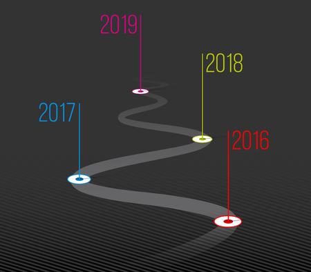 Creative illustration of company milestones timeline. Template with pointers. Curved road line art design with information placeholders. Abstract concept graphic element. History chart