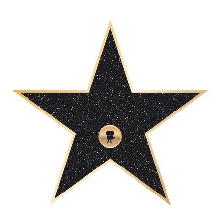 Ilustración creativa de la famosa estrella del actor en la acera. Diseño de arte del paseo de la fama de Hollywood. Elemento gráfico del concepto abstracto de plantilla en blanco en la plaza de granito en el bulevar. Foto de archivo