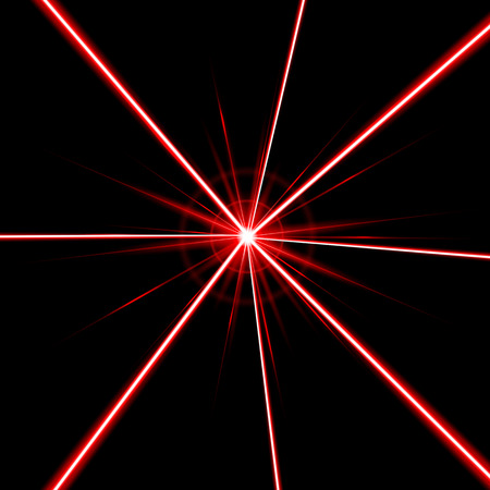 Creative illustration of laser security beam isolated on background. Art design shine light ray. Abstract concept graphic element of glow target flash neon line.