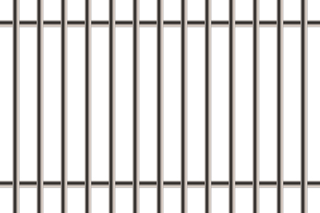 Creative illustration of metal realistic detailed prison bars window isolated on background. Art design jail break way out to freedom. Abstract concept graphic element. Standard-Bild - 120956919