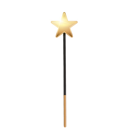 Creative illustration of miracle magical stick with sparkle isolated on background. Art design wizard wand tool glow. Abstract concept graphic stars, lights, energy element.