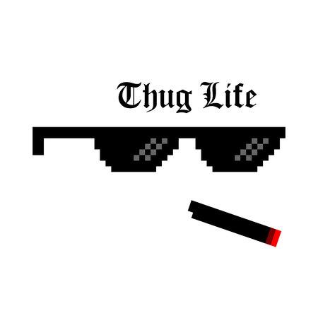 Illustration créative de lunettes de pixel du meme de la vie de voyou isolé sur fond. Conception d'art de culture de style de vie de ghetto. Modèle de maquette. Élément graphique de concept abstrait.