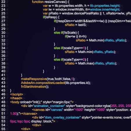 Ilustración creativa de la programación de código HTML en la pantalla del ordenador aislado en segundo plano. Página digital del sitio web de diseño de arte. Vista de lista de programas. Elemento de tecnología gráfica de concepto abstracto. Foto de archivo