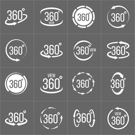 Creative illustration of 360 degrees view related sign set isolated on background. Art design. Abstract concept graphic rotation arrows, panorama, virtual reality helmet element.
