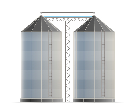 Creative illustration of agricultural silo storehouse for grain storage elevator isolated on background. Art design farm template. Abstract concept graphic wheat, corn tank element.