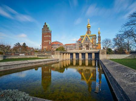 Darmstadt, Germany, Mar 01 2020: Wedding Tower and Russian Orthodox Church in Mathildenhöhe, Darmstadt. 版權商用圖片