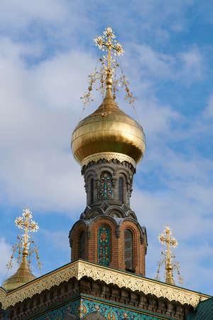 Darmstadt, Germany, Mar 01 2020: Russian Orthodox Church in Mathildenhöhe, Darmstadt.