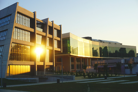 University campus in the town of Osijek in Croatia. Modern and contemporary buildings of the Faculty of Civil Engineering and Agriculture, which are flooded with the sun in the fall Éditoriale