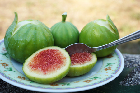 Fresh, juicy and just picked up natural and organic green figs on a small plate with teaspoon in the slice of fig