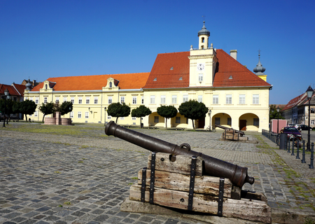 Old weapon military war cannon in old part Tvrdja in the Croatian town of Osijek, on a square of the Holy Trinity dates from the time of Turkish conquest and occupation