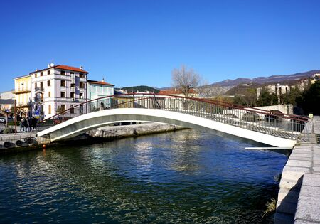 Crikvenica, Croatia, 1st January, 2020. Pedestrian bridge over the river Dubracina in the Croatian touristic town of Crikvenica