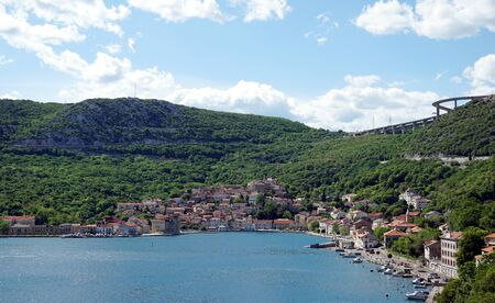 Aerial view of the old picturesque town of Bakar in the bay in the Adriatic Sea
