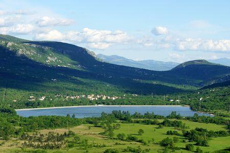 Amazing nature in beautiful green valley where is Tribalj Lake in Croatia