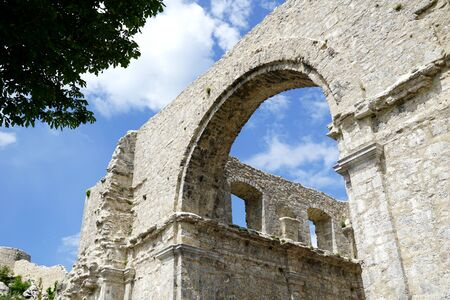 View throughout the stone ruin church Cerkvina in old historic town Kastav in Croatia