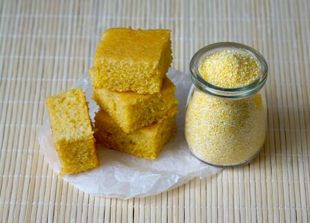 Organic polenta homemade healthy sweet snack. Four pieces of cornmeal cake