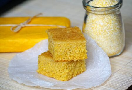 A healthy homemade tasty cake made from organic corn grits