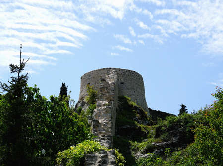 Stone tower of old medieval castle Zudika in Croatian town Kastav Editorial