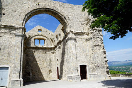 Walls of a big ruined church Cerkvina in Croatian town of Kastav