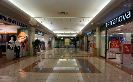 Rijeka, Croatia. January 4th, 2020. Empty hall of the Tower center shopping mall in Rijeka Editorial