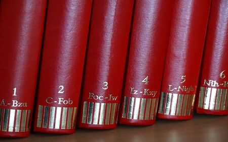 six volumes of red book spines with gold printed letters and numbers on the bookshelf Standard-Bild