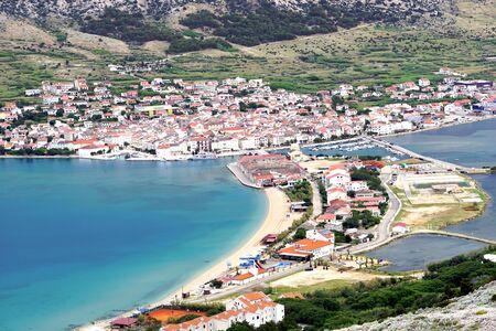 Aerial view to the picturesque town of Pag on the Island of Pag in Croatia