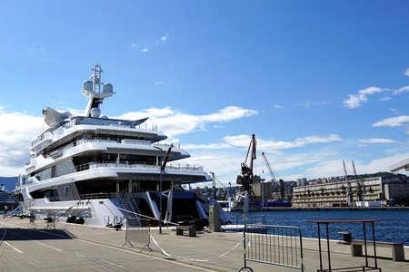 Rijeka, Croatia, July 3rd, 2020. A beautiful large yacht Royal Romance moored on the pier in the Croatian city of Rijeka