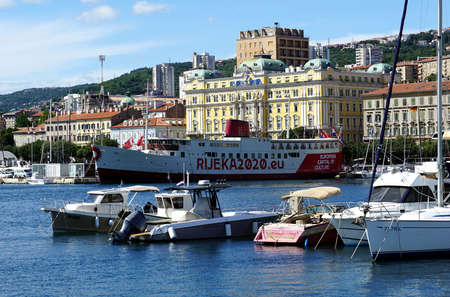 Rijeka, Croatia, July 3rd, 2020. View to the port of Rijeka town in Croatia, European capital of culture 2020.
