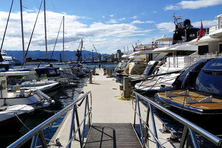 Rijeka, Croatia, July 3rd, 2020. Stone dock for yacht mooring in the Croatian town of Rijeka in a beautiful sunny day Editorial