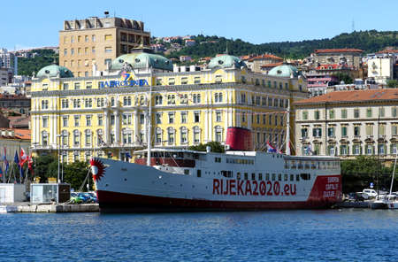 Rijeka, Croatia, July 3rd, 2020. Boat hotel Marina in the Croatian town of Rijeka Editorial