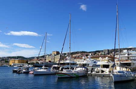 Rijeka, Croatia, July 3rd, 2020. Waterfront view to the port of the beautiful Rijeka town in Croatia
