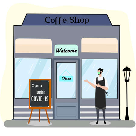 vector design, illustration of reopen a store during covid 19 pandemic
