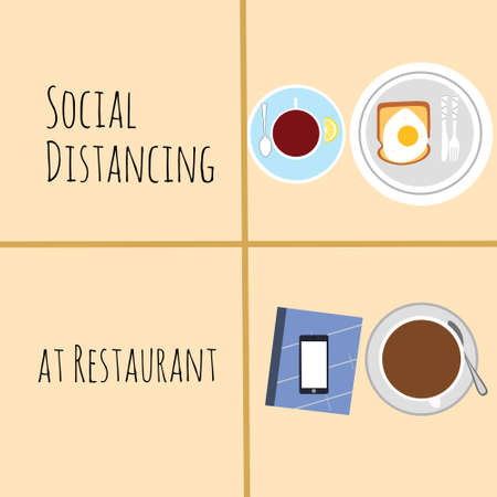 vector design, illustration of physical distancing at restaurant during new normal