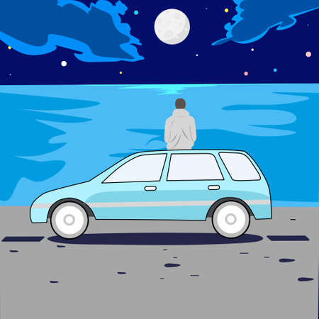 vector design, illustration of a man sitting on top of the car while looking at the night sky