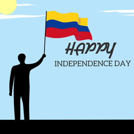silhouette of man was holding colombian flag Illustration