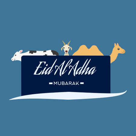 The Muslim festival named Eid Al Adha with illustrations of a camel, cows, goats