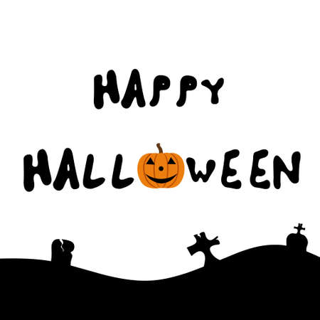 Illustration vector graphic of Happy Halloween phrase with silhouette of tombstone. Perfect for Halloween greeting cards