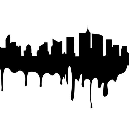 Illustration vector graphic of city melting silhouette with white background. Good for your web