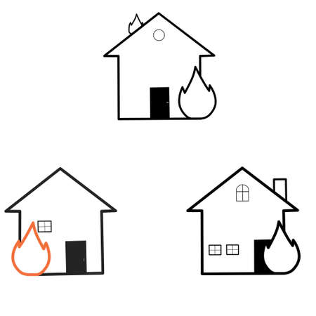 Illustration vector graphic of simple set fire house icon outline on white background. Good for your icon, web, etc