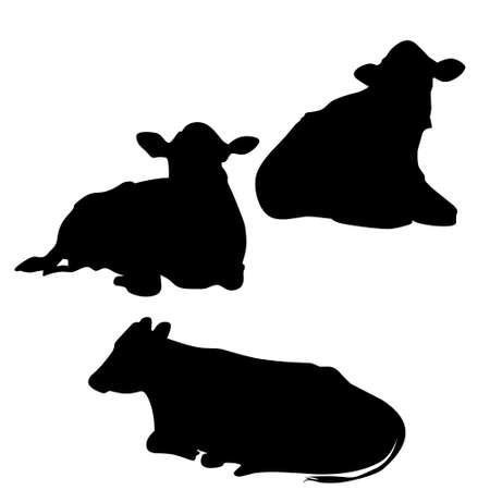 Illustration vector graphic, set of cow's sitting silhouette. Good for your icon, web, etc Ilustração