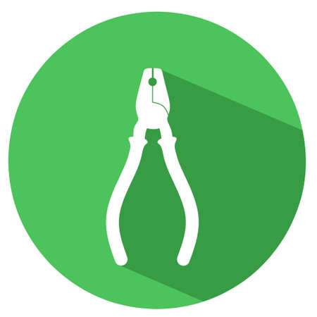 Ilustration of pliers silhouette with long shadow and green circle. Good for construction icon