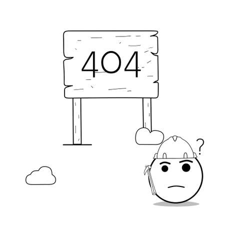 Doodle illustration of 404 page eror on white background. Good for your web, site, browser, etc 矢量图像