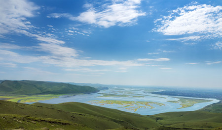sur: A wonderful view from the mountain to the bay with small islands. A tourist place in Russia. Khakassia.
