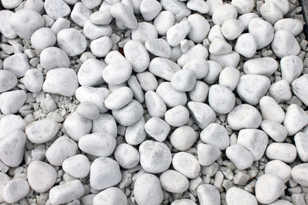 White pebble stone texture on the ground. Simplicity, daylight, stones