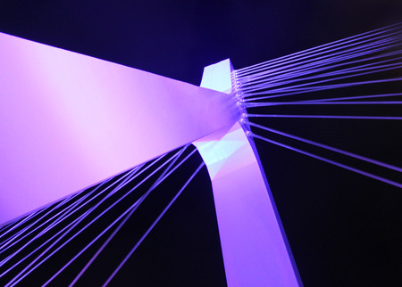 Architectural detail of the Bridge. Beautiful trendy color. Backlight.
