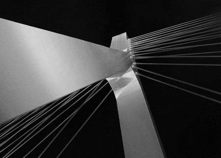 Architectural detail of the Bridge. Black and white frame. Banco de Imagens