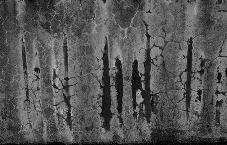 Modified Black and White corrosion wall with moldy stains, scratches and flaws. Rough texture for background image, 3D design. Grainy dark damaged grunge wall may by use for backdrop closeup.