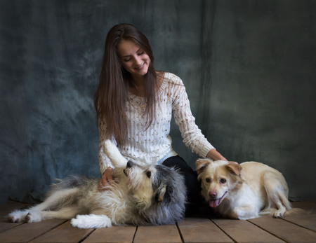 A girl is photographed with dogs from the shelter. Dogs are cautious and afraid, but they are treated well. 스톡 콘텐츠